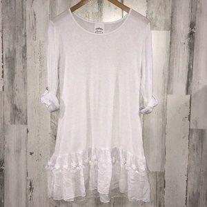 Fleur de Lis White Tunic Top Size Large
